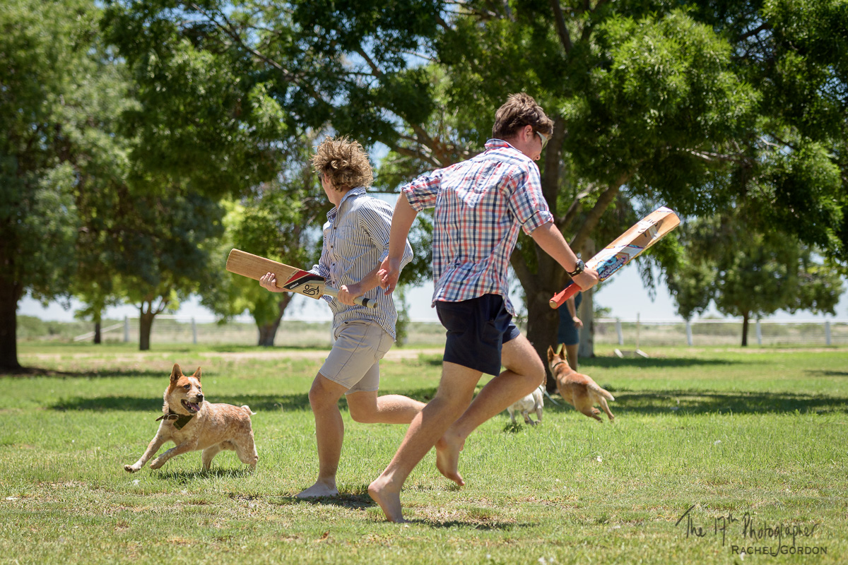 Backyard cricket in rural Australia