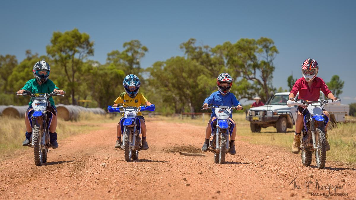 People on motorbikes in rural Australia